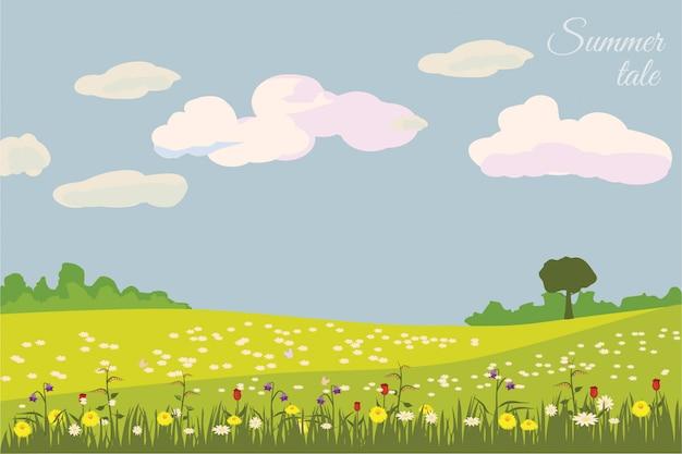 Paysage verdoyant avec des champs jaunes. belle nature rurale. jolie campagne, espace illimité.