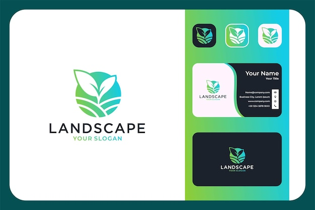 Paysage verdoyant avec création de logo végétal et carte de visite