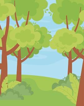 Paysage verdure arbres buissons herbe nature ciel illustration