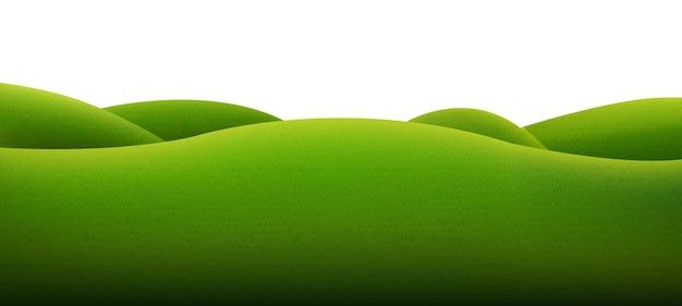 Paysage vert isolé sur fond blanc avec filet de dégradé