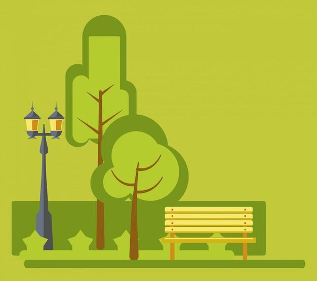 Paysage vert de parc d'attractions stret lights et banc de vector design plat