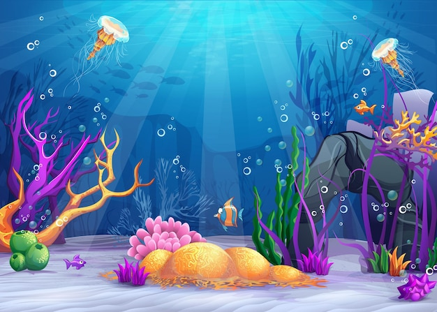 Paysage de la vie marine l'océan et le monde sous-marin avec différents habitants