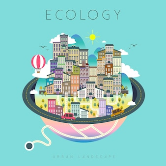 Paysage de vie urbaine écologie au design plat