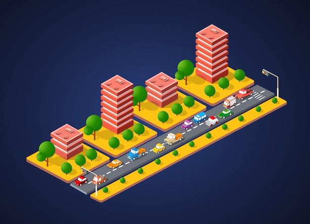 Paysage de ville 3d coloré