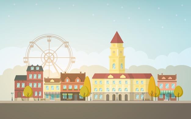 Paysage de la ville d'automne.