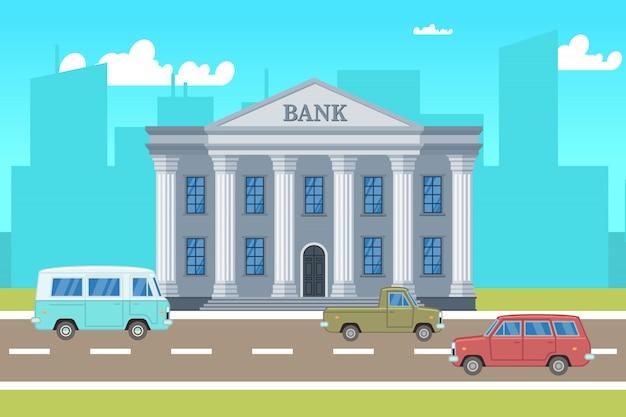 Paysage de la ville avec bâtiment de la banque, voitures, silhouettes d'horizons vector illustration