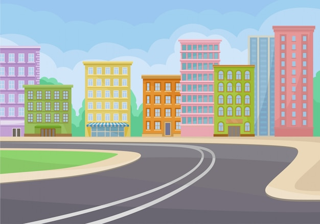 Paysage de la ville avec bâtiments, route, buissons verts et ciel bleu