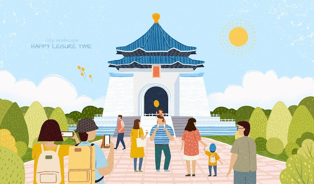 Paysage de la ville chiang kai shek memorial hall illustration itinérant concept de voyage taiwan