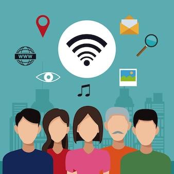 Paysage de la ville avec la connectivité des personnes sociales et des icônes