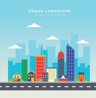 Paysage de la ville en design plat