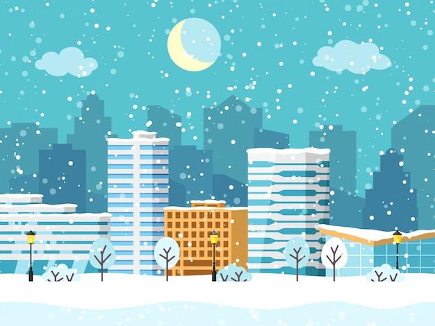 Paysage de ville d'hiver de noël avec bâtiment