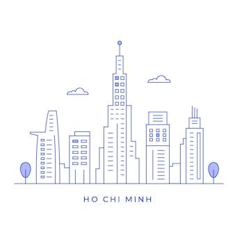 Paysage de la ville de ho chi minh avec des bâtiments et des dessins au trait de tour