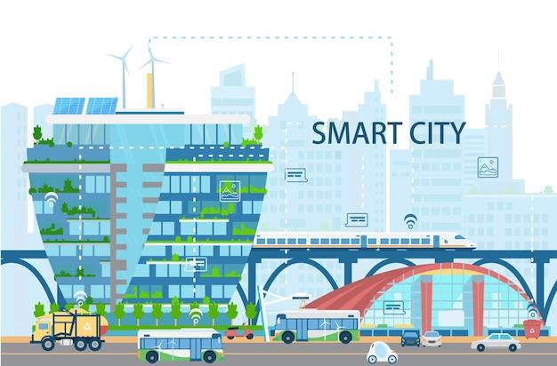 Paysage de la ville intelligente avec des bâtiments modernes, des trains à grande vitesse, des autobus et des voitures électriques, des piles de soleil, un réseau d'objets, des icônes. ville du futur concept. illustration plate.