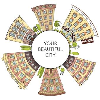 Paysage de ville avec maisons, parc, arbres, nuages. illustration vectorielle dessin au trait plat.