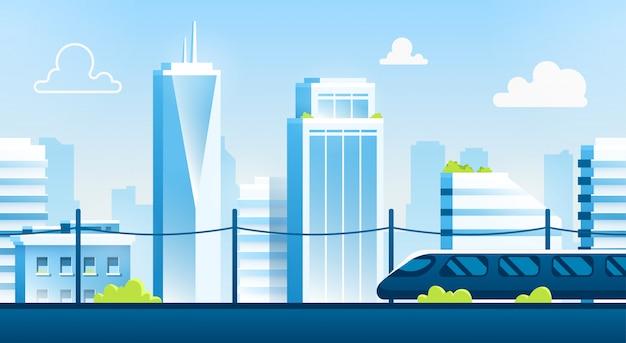 Paysage de ville sans soudure. paysage urbain avec des bâtiments. silhouette urbaine. beau modèle de fond. ville intelligente moderne avec des couches. conception de dessin animé. illustration de style plat.