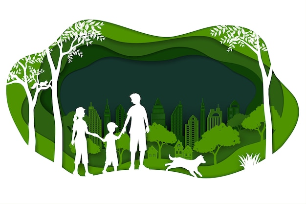 Paysage avec ville verte et famille heureuse