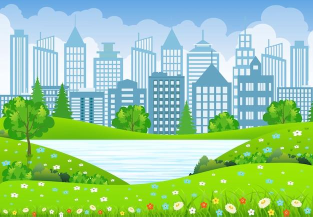 Paysage de la ville verte avec lac d'arbres et fleurs