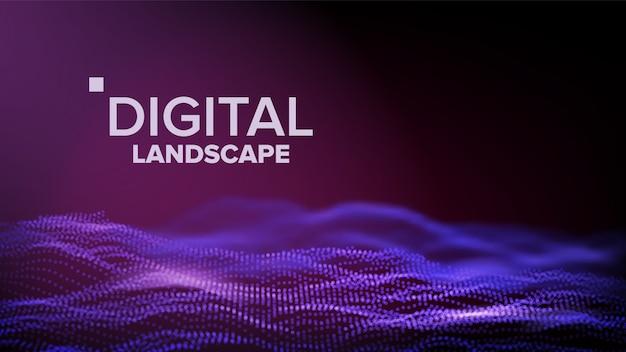Paysage violet numérique