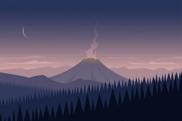 Paysage et volcan