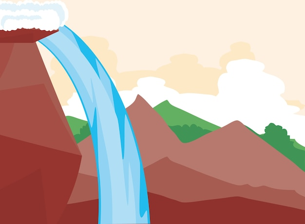 Paysage vue côté montagnes rocheuses cascade