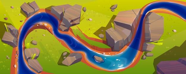 Paysage avec vue de dessus de rivière