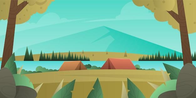 Paysage de zone de camping design plat avec tentes