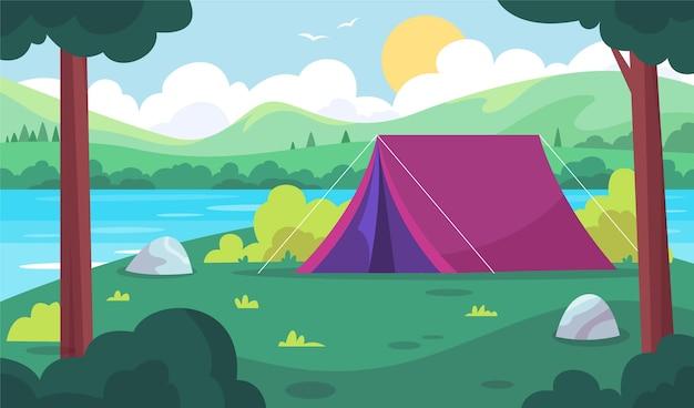 Paysage De La Zone De Camping Vecteur Premium