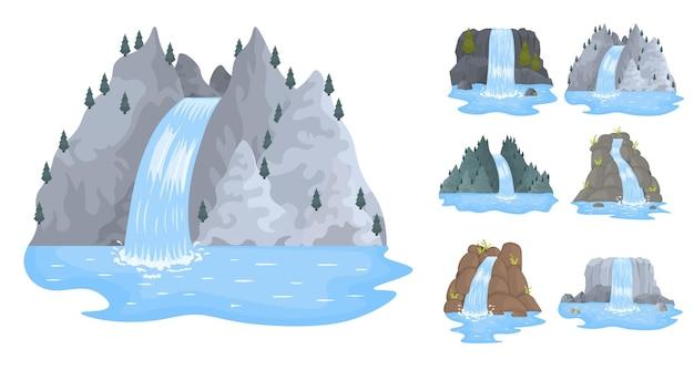 Paysages de dessins animés avec montagnes et arbres attraction touristique pittoresque avec petite cascade