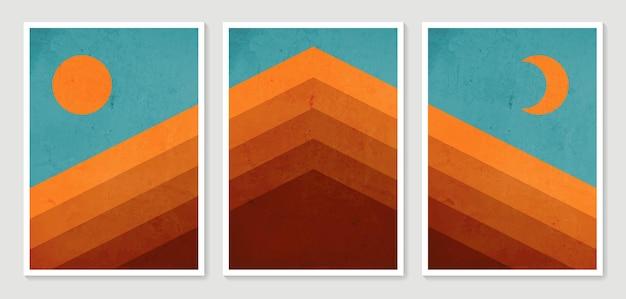 Paysages esthétiques contemporains de montagne abstraites. collection impression d'art minimaliste moderne.