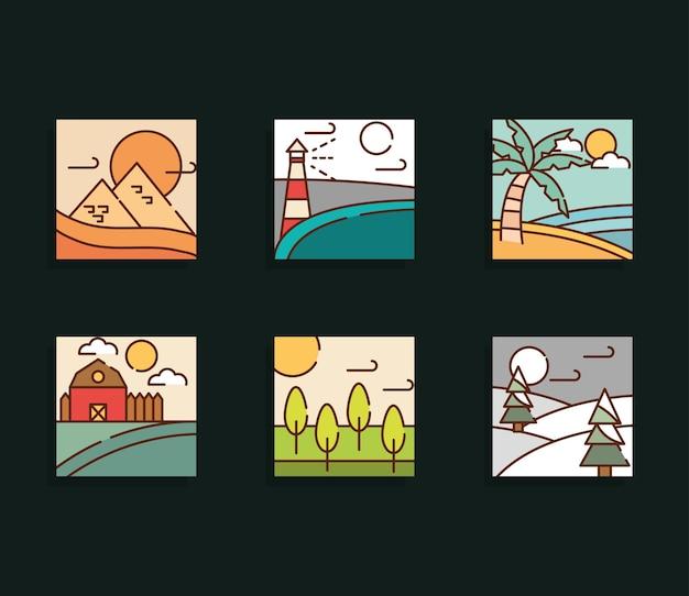 Paysages d'hiver dans un style linéaire