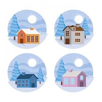 Paysages d'hiver avec ensemble de maisons
