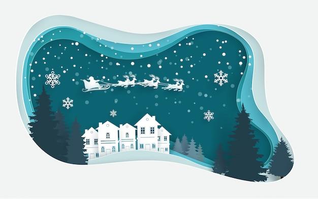 Paysages d'hiver le jour de noël. conception d'art de papier.