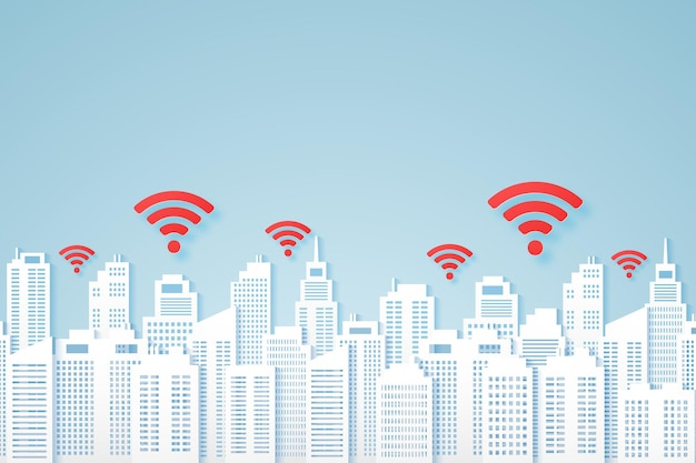 Paysages urbains, bâtiment en papier avec signal, icône wifi