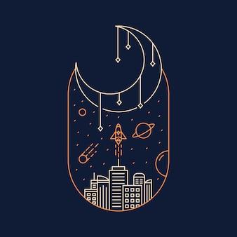 Paysages urbains et espace extra-atmosphérique dessinés à la main
