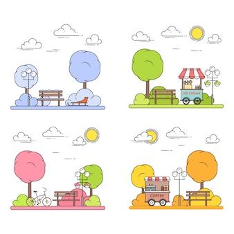 Paysages urbains quatre saisons avec parc central en dessin au trait plat.