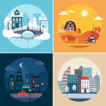 Paysages urbains et ruraux