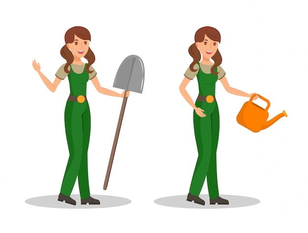 Paysan, caractères de vecteur de dessin animé de couleur de jardinier