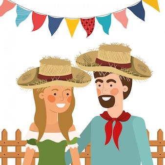 Paysan, couple, conversation, à, chapeau paille