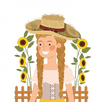 Paysanne avec chapeau de paille et tournesols