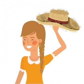 Paysanne, femme, à, chapeau paille