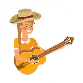 Paysanne avec instrument de musique
