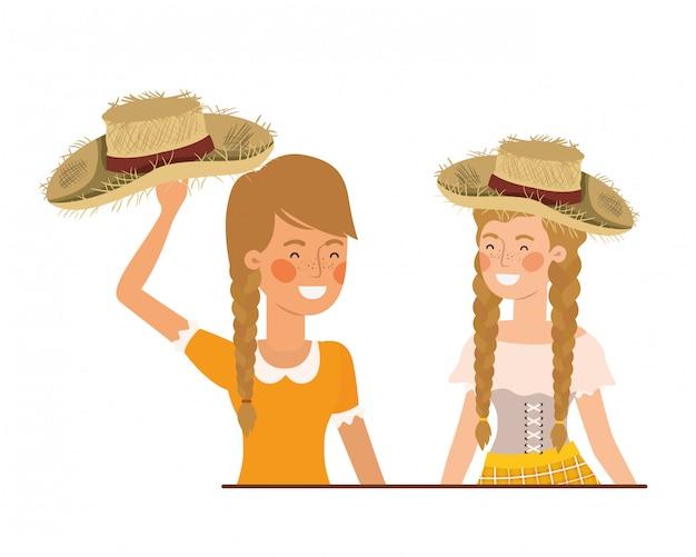 Paysannes femmes discutant avec chapeau de paille