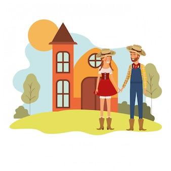 Paysans, couple, conversation