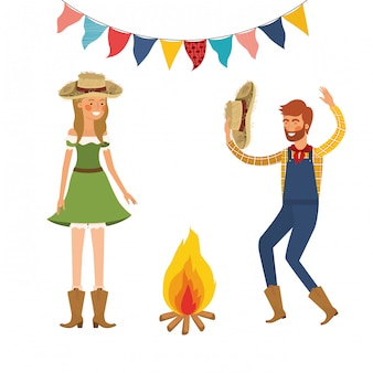 Paysans couple dansant avec chapeau de paille