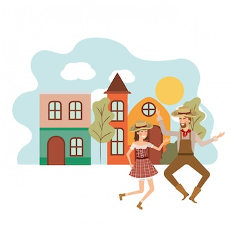Paysans couple danse