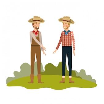Paysans hommes discutant avec chapeau de paille