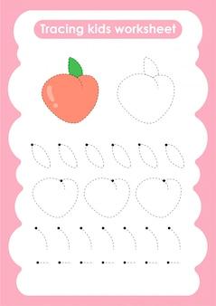 Peach - feuille de travail pour l'écriture et le dessin de lignes de trace pour les enfants