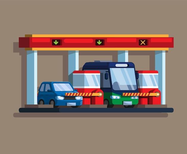 Péage d'autoroute ou barrière de parking avec voiture et bus à plat
