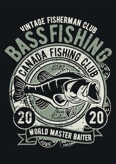 Pêche à l'achigan, affiche d'illustration vintage.