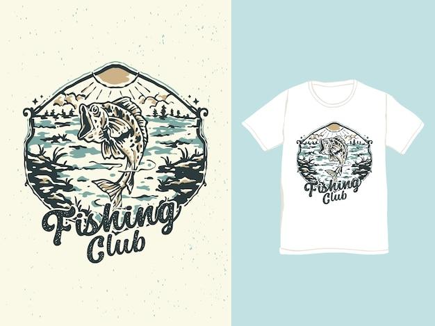Pêche à l'achigan vintage dans l'illustration de l'insigne du lac